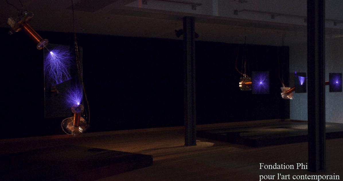 Alexandre Burton Fondation Phi Exhibit, with Zeusaphone Z-26 Tesla coils